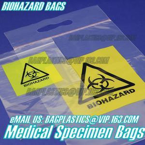 China Biodegradable Material LDPE Biohazard Specimen Bag with Zipper, opaque Specimen biohazard zipper bags, lab specimen zipp factory