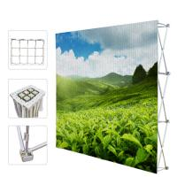 China Portable Trade Show Backdrop Stand Various Shapes Detachable Frame 250g Fabric factory