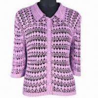 Buy cheap Women's crochet sweater, made of 100% spun silk, half sleeves, turtle neck from wholesalers