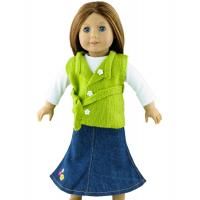 Buy cheap 3PC Apple Green Doll Sweater , 18 inch Doll Clothes , Madame Alexander Doll Clothing with Long Jean Skirt from Wholesalers