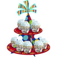 China Kids Birthday Decorative Cardboard Cake Stand 3 Tier Type Offset Printing on sale