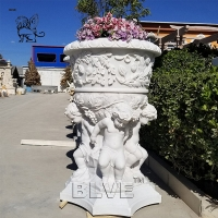 China Natural Garden Planter Hand Carving Marble White Stone Flowerpots Luxury factory