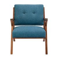 Blue Arm Accent Chair Deattached Seat , Fabric Living Room ChairsTight Back