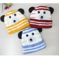 Lower price Colorful Cute bear pattern striped kids snow cap winter knitted beanie with tail and ears for kids