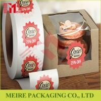 China Glossy paper top quality roll stickers label printing with custom design for cake box promotion on sale