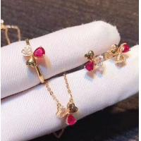 China Red Real Gemstone Jewelry Ruby Diamond Wedding Set In 18K Rose Gold on sale