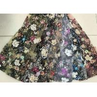 Buy cheap Multi Color Embroidered 3D Flower Lace Fabric / Fabric , Bead Lace Tulle For Dress from Wholesalers