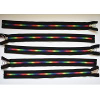 China Plastic Type Sewing Notions Zippers , rainbow teeth multi colored zipperr for garment factory