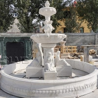 China Indoor Marble Fountain 3 tier Stone Fountains Woman Statue For garden Decoration factory