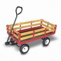 China Garden Cart, Can be Used for Holding Flowerpot or Other Things, with Steel Frame and Wooden Tray factory
