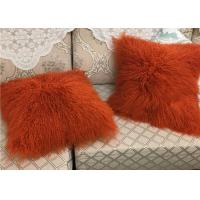 Buy cheap Mongolian Sheepskin Wool Cushion Genuine Long Curly Fur Pillow sheepskin curly fur cushion from Wholesalers
