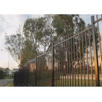 China Crimped Security spear top tubular steel fence panel steel fencing panels 2.1mx2.4m 40mm rails on sale