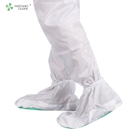 China Clean room reusable and washable white stripe shoes soft outsole antistatic ESD anti-slip shoe covers factory