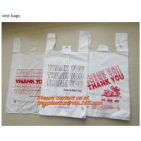 China Colorful grocery t shirt bags on rolls with thank you printing, various plastic thank you factory