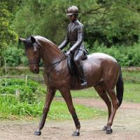 Buy cheap high quality Life size bronze girl with citation horse statue for garden decor from Wholesalers