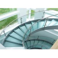 Buy cheap Curved staircase with tempered clear glass railing top railing from Wholesalers