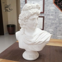 China Life size Marble Carrara Apollo Bust Statue Ancient Greek God Sculpture factory
