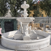 China White Marble Water Fountain Nude Lady Statue Figure Stone Garden Large Outdoor Decorative Fountains factory