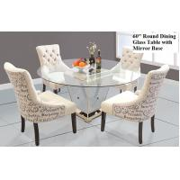 Buy cheap Modern Round Mirrored Dining Table 60 Inches Tempered Glass Table Top from Wholesalers