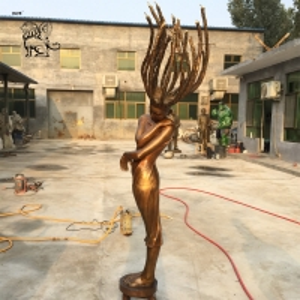 China Bronze Lady Water Fountain brass dancer Sculpture Garden Fairy Fountains factory
