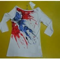 Buy cheap Womens 3 4 Sleeve Crew Neck T Shirts , Ribbed Lovely Womens Summer Tops from Wholesalers