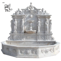China Marble Wall Fountains Italian Glorious Lion Head And Figure Relief  Stone Garden Decor factory