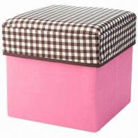 China Plaid Storage Ottoman, 12-inch Width factory