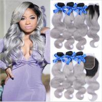 China Ombre 1b/Grey Human Hair Bundles with Closure Body Wave 3 Hair Bundles with Closure Remy Hair Extension factory