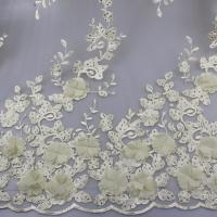 Buy cheap 3D Floral Lace Fabric With Beaded Embroidered Polyester Fiber For Party Gowns from Wholesalers