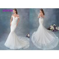 Buy cheap Embroidered Lace / Tulle / English Net Mermaid Style Wedding Dress Detachable Cap Sleeve from Wholesalers