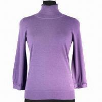Buy cheap Women's sweater, made of 100% wool, 16gg with long sleeves, turtle neck from wholesalers