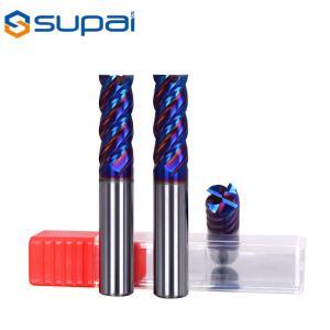 China Hardest 65 HRC Naco blue coated standard 4 flute end mill blue for steel carbide end mills factory