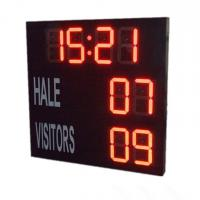 China Red Electronic Large Digital Soccer Scoreboard With Waterproof Iron Cabinet factory