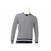 Buy cheap Striped Jumper Modern Mens Knit Sweater Winter Cotton Long Sleeve In Grey from wholesalers
