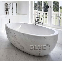 China large Freestanding Marble Bathtub Natural Carrara Stone For Bathroom factory