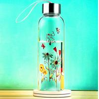 Quality beautiful flower design  glass water bottle with rope gift cup sport glass bottle wholesale