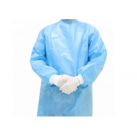 China Threaded cuffs, Velcro collar, disposable protective clothing,anti-aprayPP+PE non-woven fabric material on sale