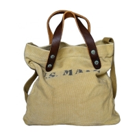 China Customized Leather Strap 8OZ Canvas Shoulder Tote Bag factory