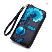 China Leather  Flower Pattern 10.5cm Personalized Zipper Wallet factory