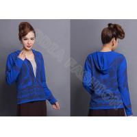 Buy cheap Full Zip Up Design Womens Wool Sweaters with Long Sleeve , Flower Printed Girls Sweater from Wholesalers