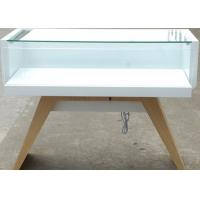 Veneer Wood Material Cell Phone Display Cabinets With LED Strip Lights