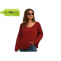 China V Neck Loose Pullover Sweater Autumn Sustainable Apparel factory