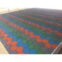 China Anti Skid Outdoor Rubber Mats , Shock Absorption 15-60mm Rubber Play Tiles factory