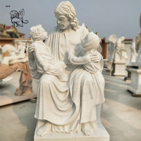 China White Marble God Jesus And Children Statue Life Size Religious Church Decor factory