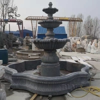 China Hand Carved Marble Garden Fountain 3 Tier Large Outdoor Decoration factory