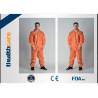 China PP/SMS/MF Disposable Protective CoverallsChemical Resistant With Hood And Elastic Cuff on sale