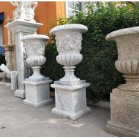 China Marble carvings planter stone carved flowerpot sculpture,outdoor stone garden statues supplier factory