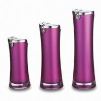 China Round Lotion Bottles, Made of Acrylic, Available in Pink, OEM Orders are Welcome factory