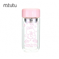 Buy cheap Double Layer 9oz Personalized Glass Water Bottle Pink Color from wholesalers