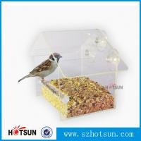 China Wholesale 2016 Custom Hanging Bird Water Feeder,Grateful Gnome Window Brid Feeder,Acrylic Clear factory